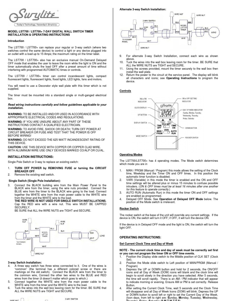 Swylite Lst700 Instruction Sheet Compact Fluorescent Lamp Timer 3 Way Light Switch