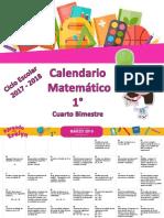 Calendario Matemático 1° Cuarto Bimestre