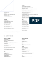 Opening menu at Bellwether