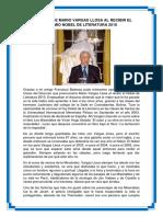 Discurso de Mario Vargas Llosa Al Recibir El Premio Nobel de Literatura 2010