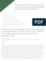 Propuesta Técnica de La Construcción de Una Mini Presa Con Fines de Mitigar La Escasez de Agua en La Comunidad de Cachipascana, Del Distrito de San Antonio de Esquilache, Puno