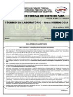 Prova de Tecnico Em Laboratorio Area Hidrologia Edital 1-2012