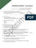 Concert Music Commissioning Specimen Contract