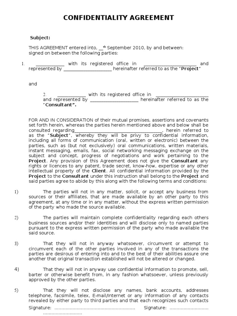 Confidentiallity Agreement Format Non Disclosure Agreement