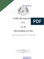 Act 362 Tin Control Act 1954