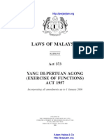 Act 373 Yang Di Pertuan Agong Exercise of Functions Act 1957