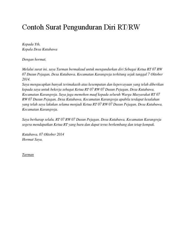 Contoh Surat Pengunduran Diri Dari Jabatan Ketua Rt