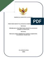 Peraturan Bupati No. 18 Tahun 2016 Tentang Perubahan Atas Peraturan Bupati Klungkung Nomor 16 Tahun 2015 Tentang Rencana Kerja Pemerintah Daerah Kab. Klungkung Tahun 2016_357544