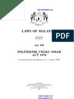 Act 145 Politeknik Ungku Omar Act 1974