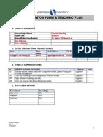 149651 Teaching Plan Financial Modelling S1 2017-2018