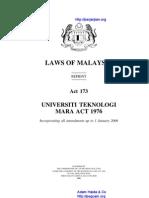 Act 173 Universiti Teknologi Mara Act 1976