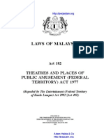 Act 182 Theatres and Places of Public Amusement Federal Territory Act 1977