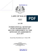 Act 184 International Monetary Fund Ratification of Second Amendment to the Articles of Agreement Act 1977