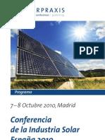 Conferencia Industria Solar 2010 - Programa