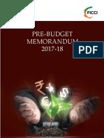 FICCIs Pre Budget Memorandum 2017 2018