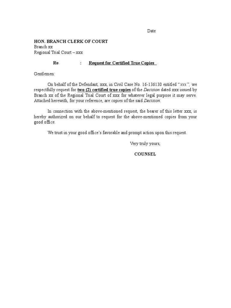 Letter To Clerk - Certified True