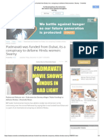Padmavati Was Funded From Dubai, Its a Conspiracy to Defame Hindu Women_ Swamy - Oneindia