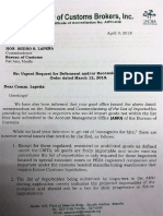 Letter of Chamber of Customs Brokers Inc to BOC Commissioner Isidro Lapeña
