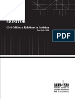 Monitor on Civil Military Relationsin Pakistan June & July 2014