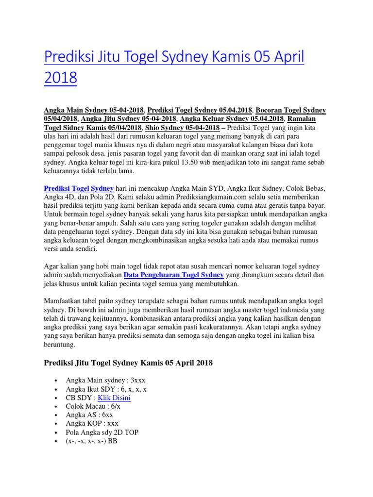 Prediksi Jitu Togel Sydney Kamis 05 April 2018