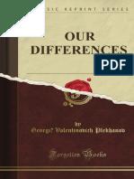 g v Plekhanov Our Differences