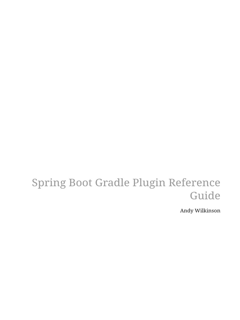 Spring Boot Gradle Plugin Reference | Java (Programming