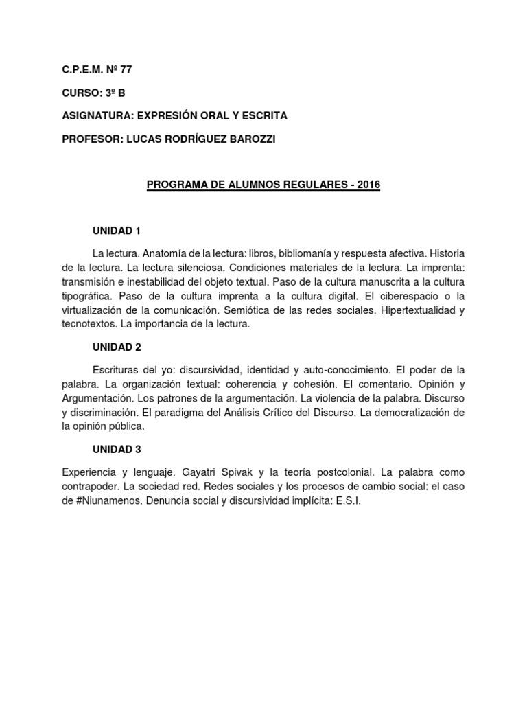 CPEM 69 Expresión Oral y Escrita 3ºB 2015