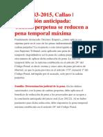 Conclusión Anticipada - Cadena Perpetua Se Reducen a Pena Temporal Máxima