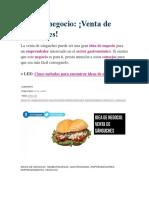 Idea de Negocio Venta de Sandwich
