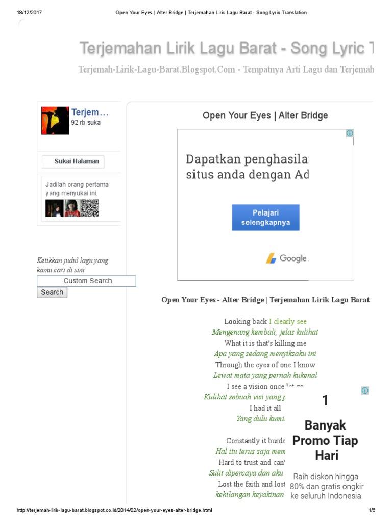 Arsia Lirik: Lirik Lagu Alter Bridge Terjemahan