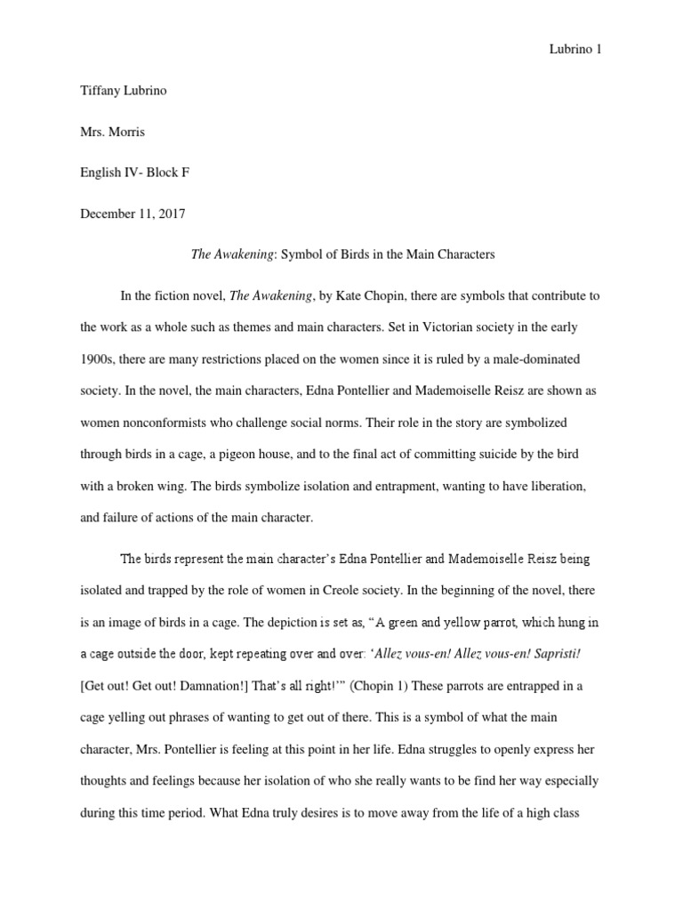 English Iv The Awakening Essay The Awakening Chopin Novel