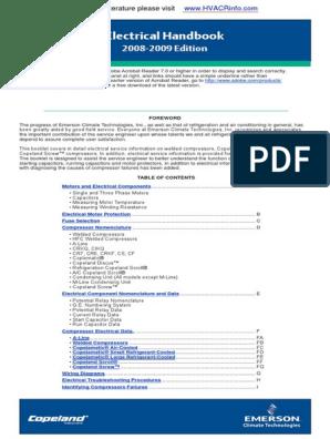 Copeland Electrical Handbook.pdf | Capacitor | Resistor on compressor start relay diagram, hermetic compressor wiring diagram, compressor start capacitor wiring diagram,