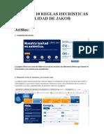 Reporte de 10 Reglas Heurísticas de Usabilidad de Jakob Nielsen