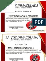 Diploma de La Voz Inmaculada