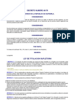 Ley de Titulación Supletoria Dto 49-79