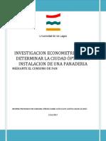 Investigacion Econometrica Para Determinar La Ciudad Óptima de Instalacion de Una Panaderia