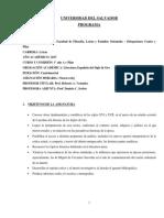 2017 Programa Letras -Lit. Espanola s. de Oro - Centro y Pilar