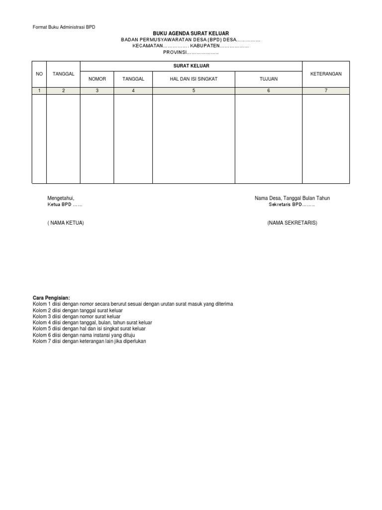 Format Administrasi Badan Permusyawaratan Desa Bpd
