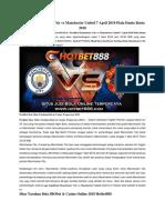 Prediksi Manchester City vs Manchester United 7 April 2018 Piala Dunia Rusia 2018