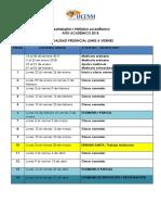 Calendarizacion General Periodo Actual
