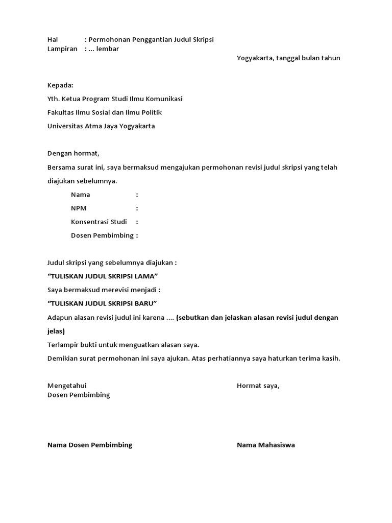 Contoh Format Penggantian Judul Skripsi Docx