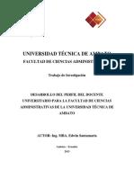 Ponencia - Desarrollo Del Perfil Del Docente Universitario Para La Fcadm de La UTA
