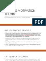 Taylor's Motivation Theory