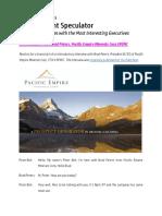 Newton Interviews Brad Peters, Pacific Empire Minerals Corp $PEMC