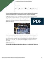 Roof Waterproofing Using Bituminous Waterproofing Membrane