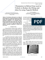 Optimization of Parameters in Helical Gear used in Heavy Load Vehicle to Reduce the Pitting and Scuffing Failure by using Taguchi Method
