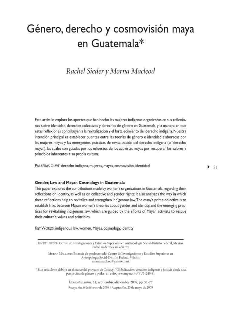 Género, Derecho y Cosmovisión Maya en Guatemala