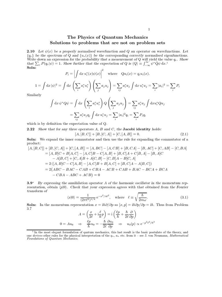 solutions quantum mechanics 2 pdf   Wave Function   Field