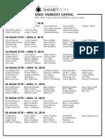 April 7, 2018 Yahrzeit List