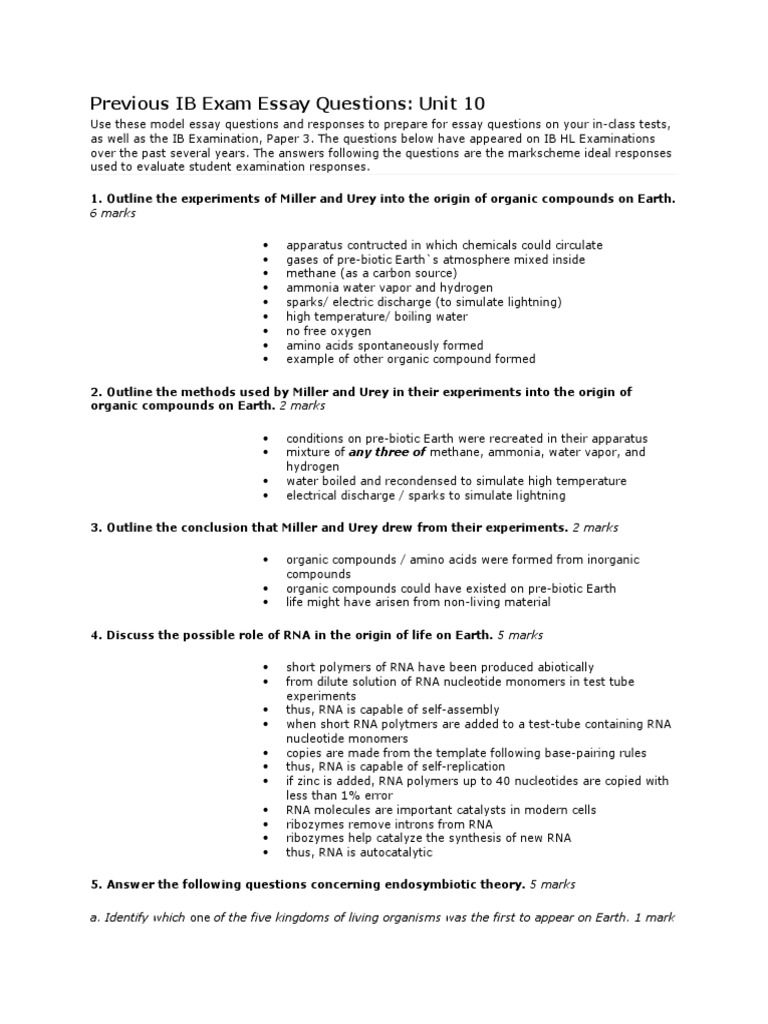 ib biology essay questions and answers Previous ib exam essay questions: the answers following the questions are the mark-scheme ideal responses used to evaluate student ib biology questions.